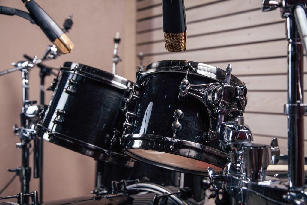 drum set in studio