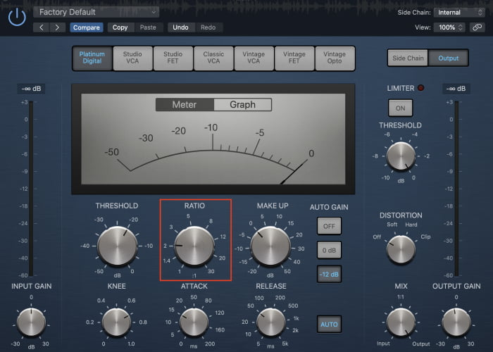 kick drum compression ratio
