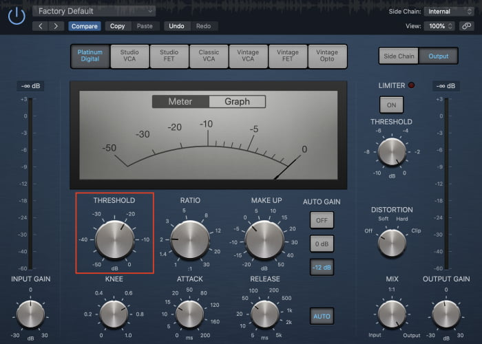 kick drum compression threshold